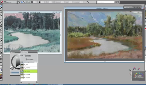 Karen Bonaker demonstrates the new X3 cloning workflow that integrates the crosshair with clone sources. The multiple sources are used to create a beautiful impressionist painting.